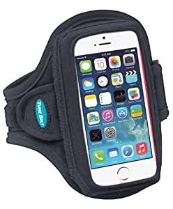 Armband for iPhone SE, 5, 5s, 5c with a slim case - Sweat-Resistant Design - Great for Running, Sports & Club Workouts - for Men & Women [Black]