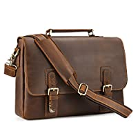 "Kattee Men's Crazy Horse Leather Satchel Briefcase, 14"" Laptop Tote Bag"