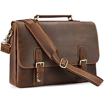 "Kattee Men's Crazy Horse Leather Shoulder Briefcase, 14"" Laptop Bag Tote"