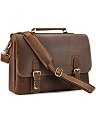 Kattee Mens Crazy Horse Leather Satchel Briefcase, 14 Laptop Tote Bag