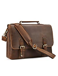 Kattee Mens Top Layer Real Cow Leather Shoulder Briefcase Attache 14 Inch Laptop Bag Tote