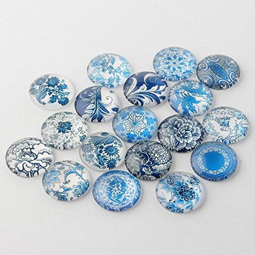 PEPPERLONELY 10PC Blue & White Floral Printed Dome Glass Cabochons Round Flat Back For Cabochon Bezel Settings 25mm
