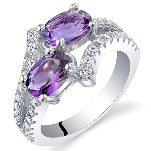 Forever Us Two Stone Amethyst Sterling Silver Ring Size 7 (Amethyst Two Stone)