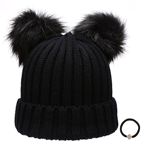 Women's Winter Chunky Knit Double Pom Pom Beanie Hat With MIRMARU Hair Tie.(Black)