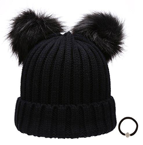 Women's Winter Chunky Knit Double Pom Pom Beanie Hat With Hair Tie.(Black)