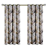 Kotile Bedroom Colorful Tree Room Darkening Blackout Curtains with Floral Design Digital Printing, 2 Panels Eyelet Soft Short Grey Window Drapes for Living Room/Kid's Room, 52 Wide x 63 Inch Long