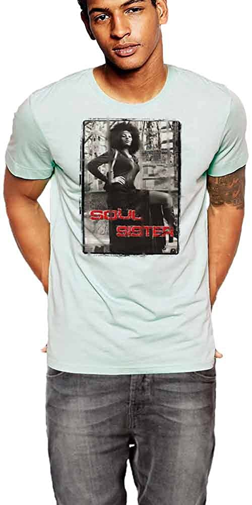 Black History Month T-Shirt 70s Action Movie Icon Light Blue Tee