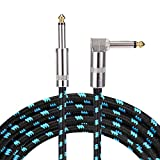 15 ft Guitar Cable Right Angle 1/4 Inch Premium Instrument Bass Cable AMP Cord to Straight for Electric Guitar Bass Keyboard to Guitar Amps(Blue 15FT)