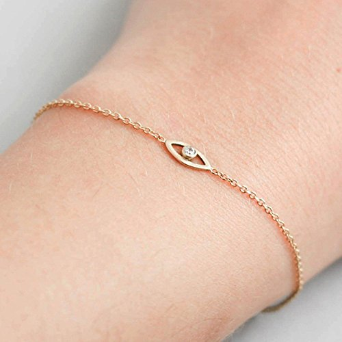 Evil eye bracelet 14K gold white diamond dainty stacking simple minimalist chain bracelet 14K solid gold birthday anniversary graduation bridesmaid protection bracelet GB0287 14k Vs1 Bracelet