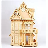"""NWFashion Children's 17"""" Wooden 6 Rooms DIY Kits Assemble Miniature Doll House (Gothic)"""