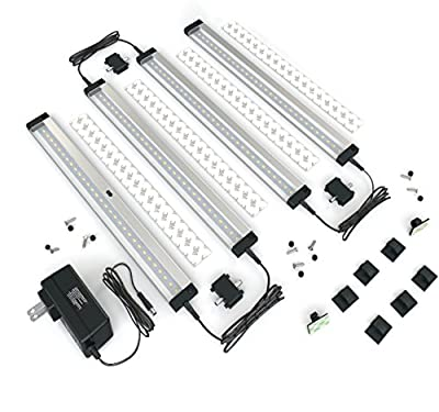 [New] EShine 4 Panels LED Dimmable Under Cabinet Lighting Kit! Hand Wave Activated - Touchless Dimming Control - Bright, Strong and Stable - Easy to Install - Deluxe Kit