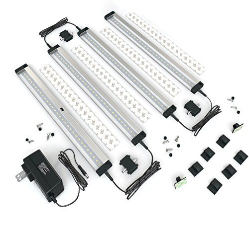 EShine 4 Panels 12 Inch LED Under Cabinet Lighting, with IR Sensor! Hand Wave Activated - Bright, Strong and Stable - Easy to Install, Screw and 3M Sticker Options Included - Deluxe Kit, Warm White