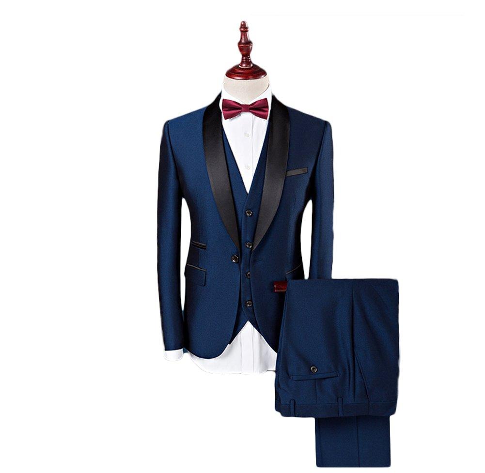 Botong Blue Shawl Lapel Men Suits 3 Pieces Wedding Suits for Men Groom Tuxedos Blue 44 chest / 38 waist