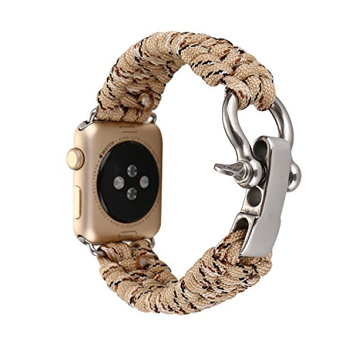 WETERS Iwatch Strap for Apple Watch Series 4 Sports Version 40MM Nylon Woven Camouflage Rope Wristband,Camouflagekhaki ()