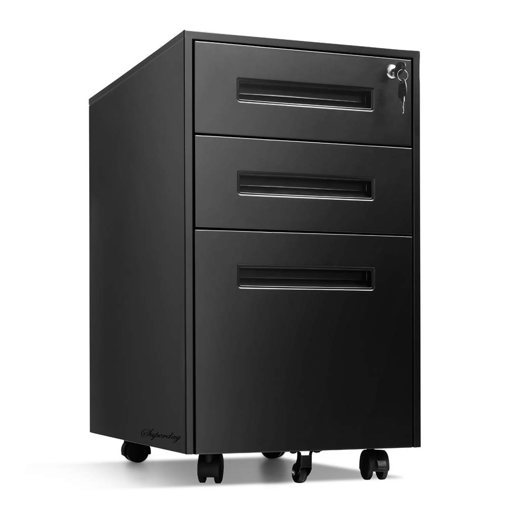 Locking File Cabinet Rolling Metal Filing Cabinet 3 Drawer Fully Assembled Office Pedestal Files Except Wheel(Black B) by Superday