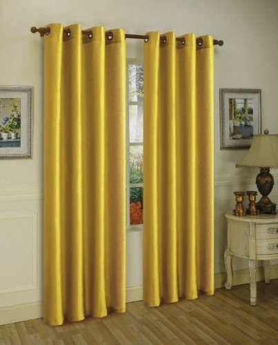 Discount Silk - LuxuryDiscounts 2 Piece Solid Bright Gold Faux Silk Grommet Window Curtain Treatment Panel Drapes 55