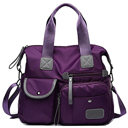 Purple Laptop Crossbody Handle Hobo Women's Resistant YouNuo Top Handbag Nylon Bag Bags Water Tote Shoulder X64wqfY