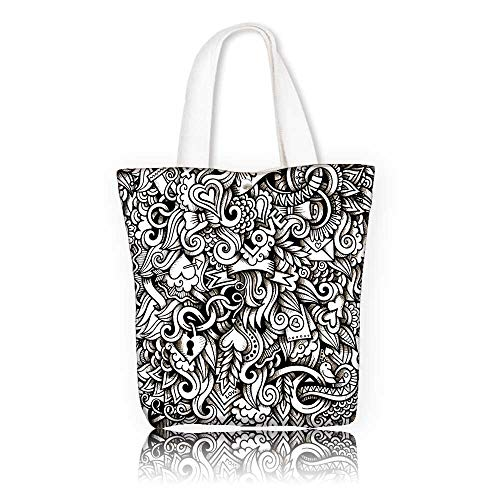 Canvas Tote Bag —W21.7 x H14 x D7 INCH/Tote Laptop Beach Handbags Romantic I Love You Themed Winged Hearts Locks Partners Valentines Ribbons Illustration Black White. (Handbag Winged Heart)