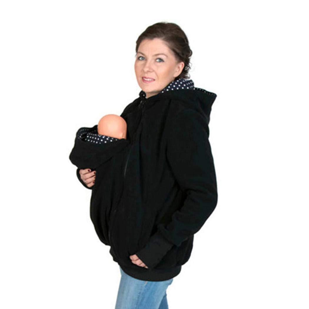 Pagacat Porte-b/éb/é /à Capuche Sweat Shirt Kangourou D/écontract/é pour Femme Veste Maternit/é