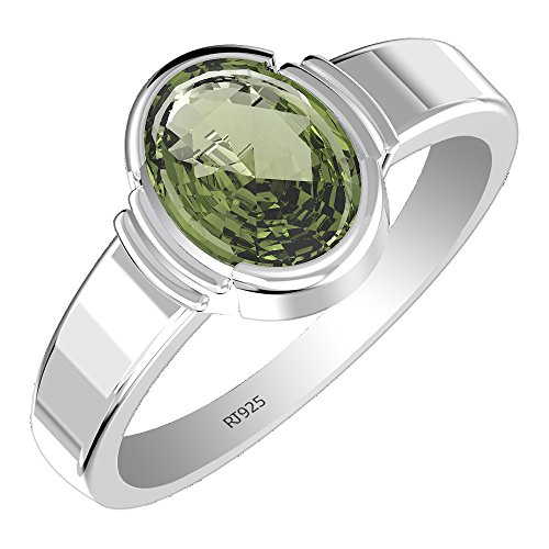 1.95 ct Genuine Moldavite 7x9mm Oval & Solid .925 Sterling Silver Ring (Size-9)