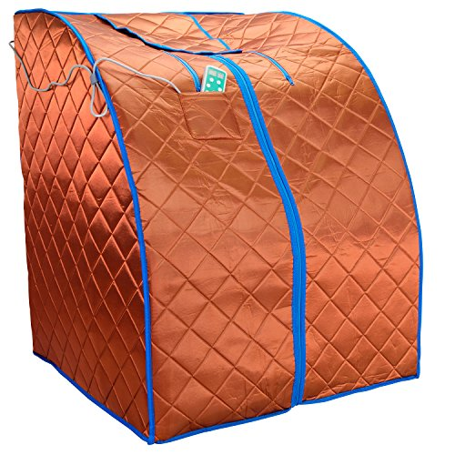 Durherm Infrared Sauna, Low EMF Negative Ion Portable Indoor Sauna with Chair and Heated Footpad, Copper, Large