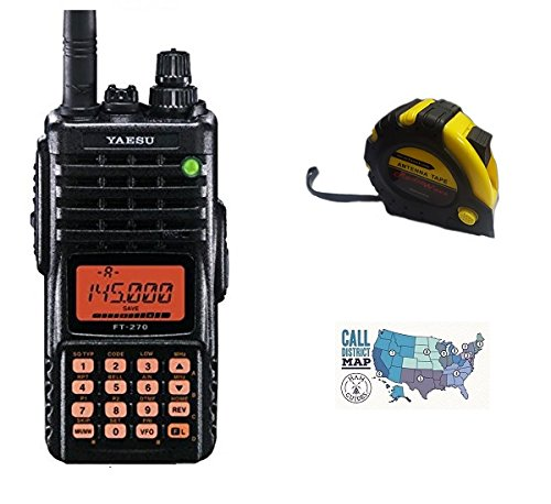 Bundle - 3 Items - Includes Yaesu FT-270R Handheld Radio, 2M, 5W with The New Radiowavz Antenna Tape (2m - 30m) and HAM Guides Quick Reference Card
