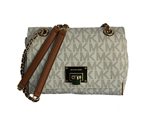Michael Kors Vivianne Medium Shoulder Flap Signature Vanilla Crossbody Bag