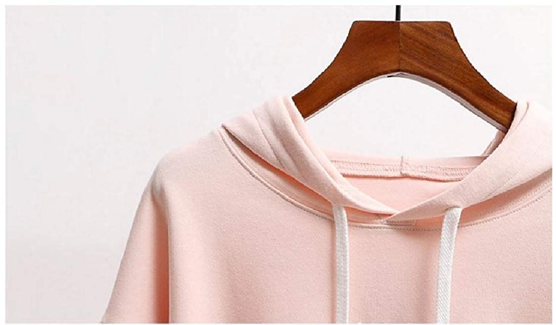 FieerWomen Solid Colored Loose Drawstring Batwing Sleeve Pocket Sweatshirt