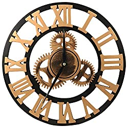 ShuaXin Wooden 14 Inch 3D Gear Wall Clock,Retro Vintage Golden Super Large Roman Numerals Home Decorative Wall Clocks for Kitchen,Living Room,Bedroom