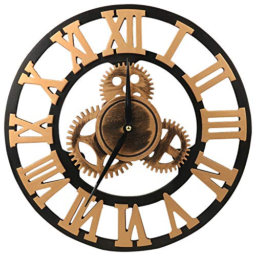 ShuaXin Wooden 14 Inch 3D Gear Wall Clock,Retro Vintage Golden Super Large Roman Numerals Home Decorative Wall Clocks for Kitchen,Living Room,Bedroom (Gears Old Clock)