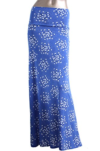 Flair Mini Skirt - Azules Women's Poly Span Multiple Selection Print Maxi Skirt (S, Blue mini floral-F84)