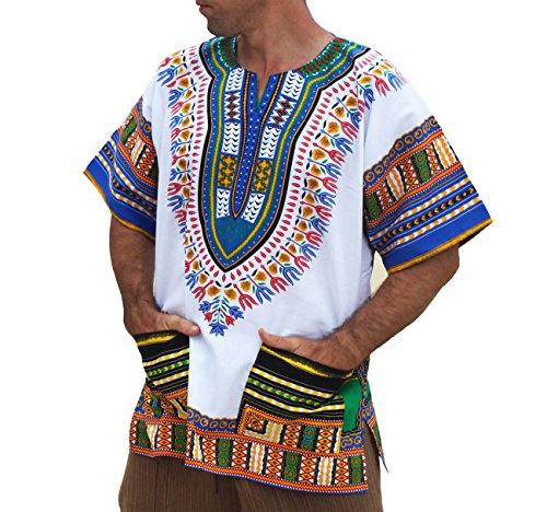 RaanPahMuang Brand Unisex Bright African White Dashiki Cotton Shirt Aqua Blue (African Outfit)