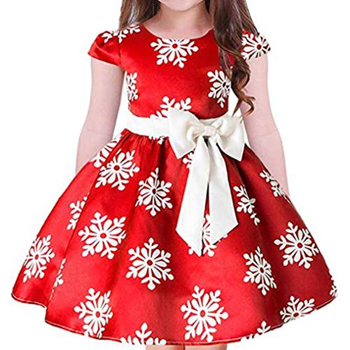 Lukcyaution Toddler Kids Pageant Party Dress Sleeveless Girls Wedding Princess Dresses with Bowknot (3-4Years, Red 2)