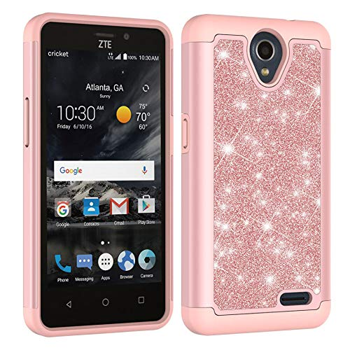 Aiyze For ZTE Maven 3 Case,Prestige2/Overture 3/Prelude Plus Glitter Powder Bling Heavy Duty Tough Dual Layer 2 in 1 Rugged Rubber Silicone Hybrid Hard Plastic Soft TPU Back Protective Cover Rose Gold