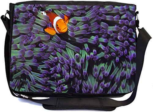 Rikki Knight Clown Fish Hiding Among Purple Sea Anenomies Design, Messenger School Bag (mbcp-cond44338)]()