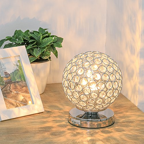 Crystal Ball Table Lamp - HAITRAL Vintage Modern Night Light Lamp, Nightstand Decorative Room Desk Lamp for Bedroom, Living Room, Kitchen, Dining Room Silver (HT_BD012S) by HAITRAL