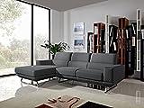 Limari Home Doreen Collection Modern Fabric Upholstered Living Room Sectional Sofa, Grey