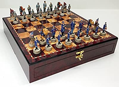 "US American Civil War Chess Set W/ 17"" High Cherry & Burlwood Color Gloss Storage Board"