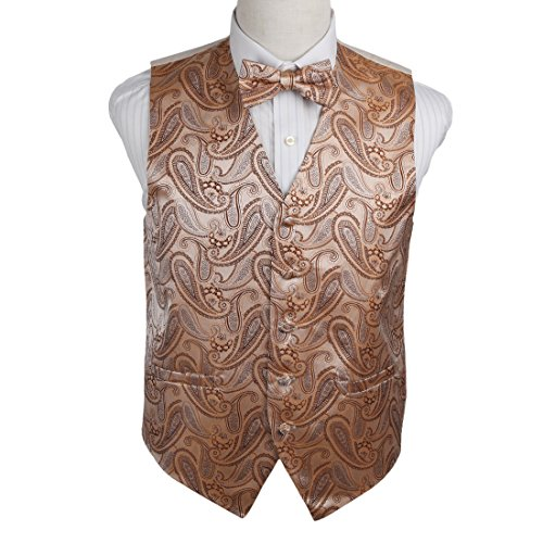 EGE1B07D-S Beige Brown Paisley Microfiber Waistcoat and Pre-tied Bow Tie Suppliers For Working By Epoint (Vest Mans Working)