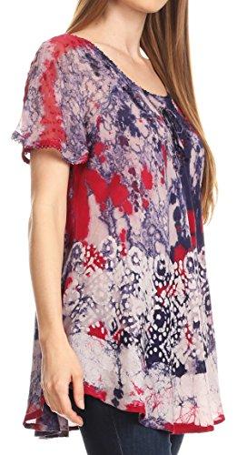 Top Framboise Sakkas Batik Flowy Dye Sara Tie Broderie Manches Womens Courtes Paysan Blouse vqwYAqg7