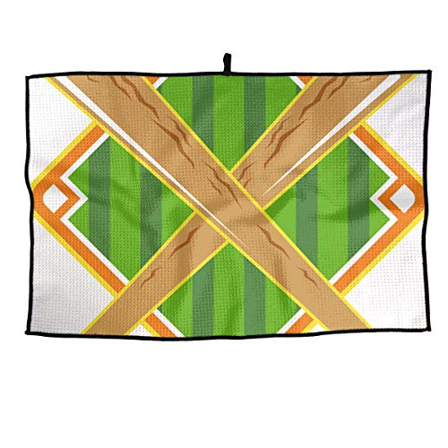 HenSLK Baseball Diamond Crossed Bat Soft Waffle Towel Microfiber Cooling Golf Towel for Travel,Sports, Workout, Fitness, Gym, Yoga, Pilates, Travel, Camping
