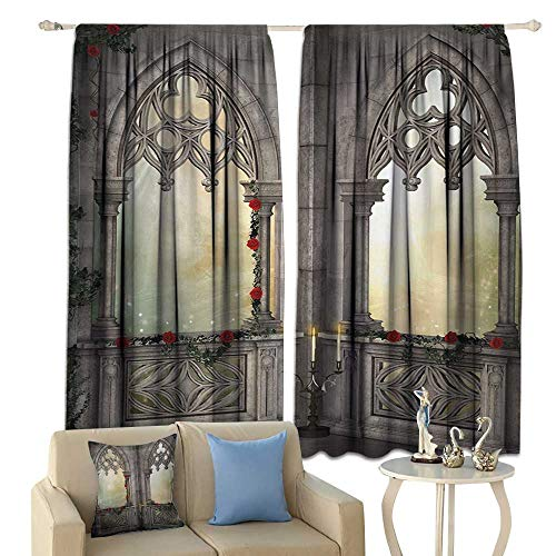 - clayee Sliding Curtains Gothic Vintage Style Ottoman Palace Balcony for Sultans with Red Rose Flowers Ivy Terrace Image Darkening and Thermal Insulating Beige