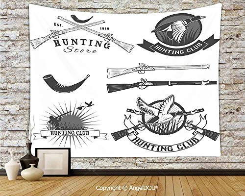 (AngelDOU Hunting Dorm Decor Wall Hanging Tapestry Hunting Store and Club Labels Duck Goose Mallard Shotgun Rifles Reed Bed for Living Room Bedroom.W59xL51.2(inch))