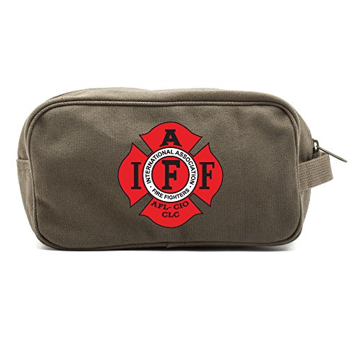 - IAFF International Association of Fire Fighters Logo Canvas Shower Kit Travel Toiletry Bag Case in Olive