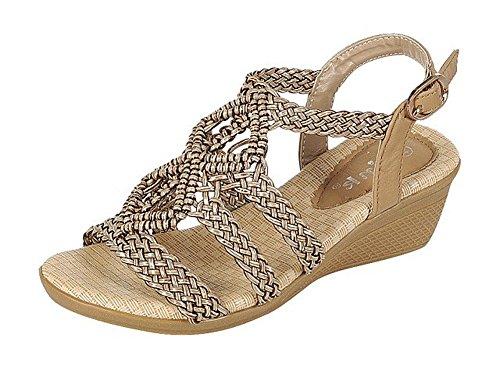 Forever Link Women's Woven Beaded Hippie Boho Sling Back Wedge Sandal (8 B(M) US, Taupe)