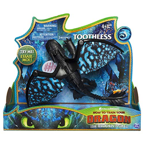 Dreamworks Dragons, Toothless Deluxe Dragon with Lights & Sounds, for Kids Aged 4 & - Toy Push Dragon