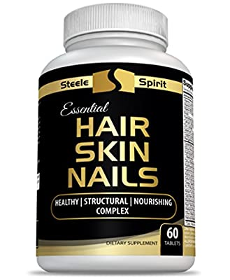 Hair Skin And Nails Vitamins Biotin - Hyaluronic Acid Collagen & More For Healthy Sexy Hair - Smooth Vibrant Skin & Strong Beautiful Nails - For All Skin and Hair Types - By Steele Spirit