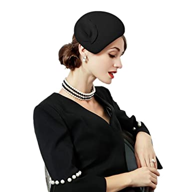 5d59fdae13e5b KRASTAL Flower Womens Dress Fascinator Wool Felt Fedora French Pillbox Hat  Party Wedding Fedora Black