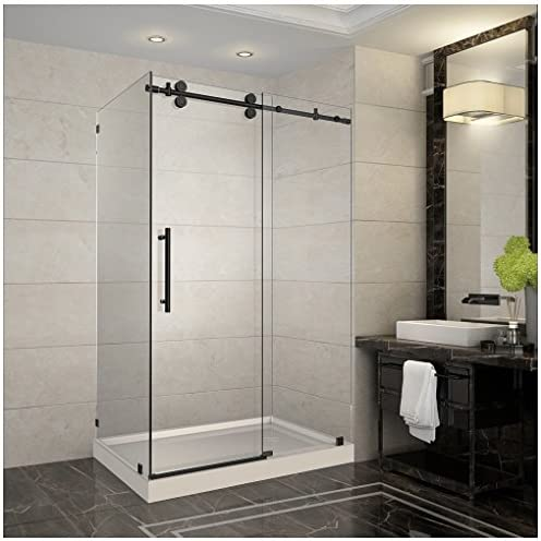 Aston Langham 48 x 35 x 77.5 Completely Frameless Sliding Shower Enclosure with Right Drain Base, Oil Rubbed Bronze