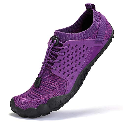 AMOCOCO Men's Women's Minimalist Trail Running Barefoot Shoes | Wide Toe Box Quick Drying Beach Sneakers Purple